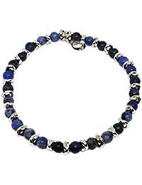 Cloto Summer vibes Blue Monday bracciale con pietre sodalite blu 4 mm e charm in argento 925 My Silver