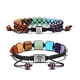 JOVIVI 7 Chakra Buddha Yoga Steinarmband Lebensbaum Anhänger+doppeltes geflochtenes Armband OM Freundschafts Paar Armbänder