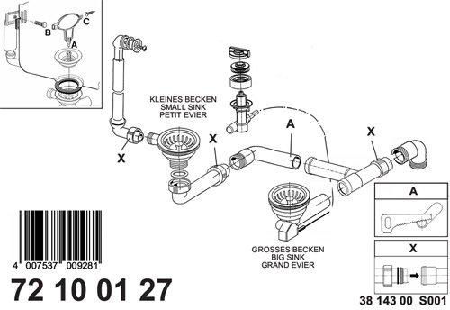 Komplette Ab- und Überlaufgarnitur / Excentergarnitur für die Rieber CORA 150 Riegranit Einbauspüle / Ersatzteil Spüle inkl. Bowdenzug