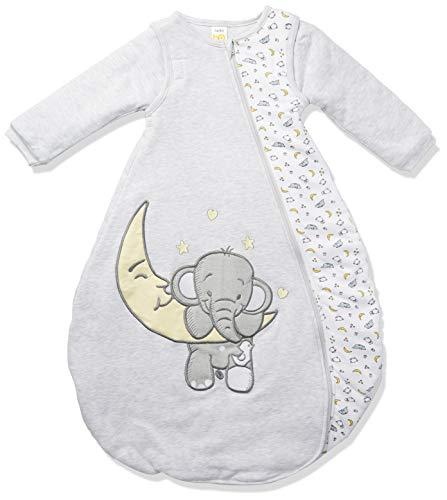 Jacky Unisex Baby Ganzjahres Schlafsack Elefant, Mit abnehmbaren Ärmeln, Wattiert, Alter: 6-12 Monate, Größe: 74/80, Farbe: Hellgrau meliert, 350017