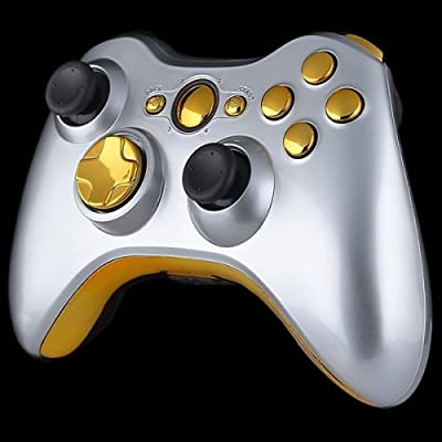 Official Xbox 360 Wireless Controller - Matte Silver with Gold Buttons