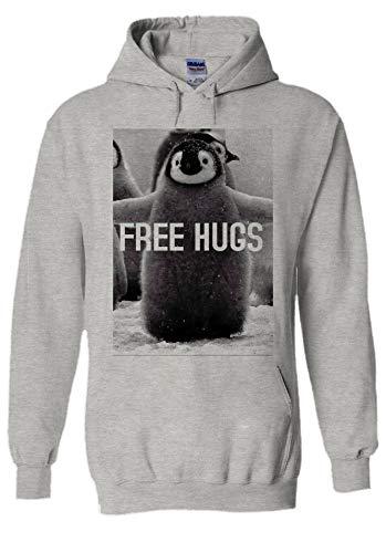Penguin Free Hugs Funny Novelty Grey Men Women Unisex Hooded Sweatshirt Hoodie-L - Free Womens Pink T-shirt