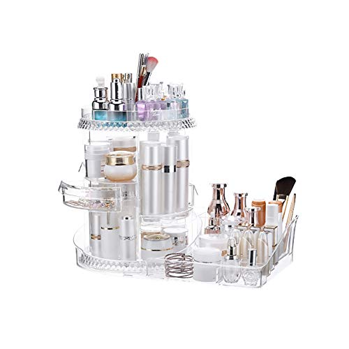 LCHHU 360 Grad drehbares Kosmetikregal, Verstellbarer transparenter Multifunktionsständer für Kosmetik, Schmuck, Hygieneartikel