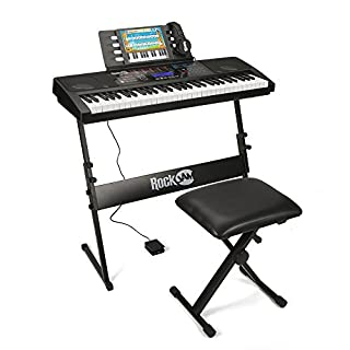 RockJam RJ761-SK Key Electronic Interactive Teaching Piano Keyboard with Stand, Stool, Sustain pedal & Headphones