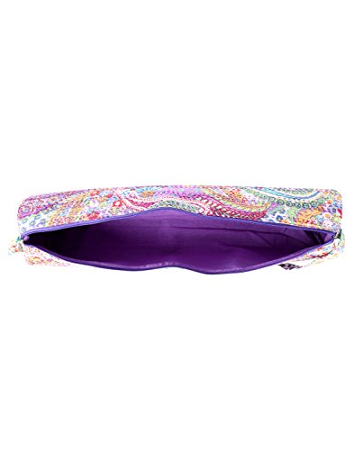 Attraente cotone Sling Bag Ricamato Elephant per le donne By Rajrang Purple & Green
