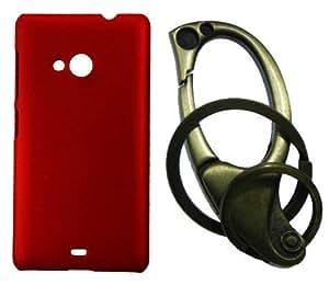 XUWAP Hard Case Cover With Matallic KeyChain For Microsoft Lumia 535 - Red