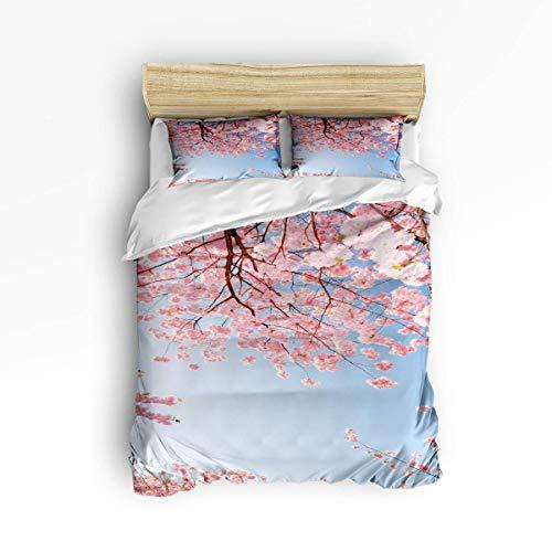Niedliche 3-teilige Bettbezug-Sets für Kinder Erwachsene Jungen Mädchen, Pinkly Japanese Cherry Blumenmuster, Schlafzimmer Dekoratives Bettwäscheset Beinhaltet 1 Bettbezug mit 2 Kissenbezügen - Schlafzimmer Kollektion Von Cherry