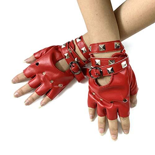 xtom2013 Damen Biker fahren motorrad igel spiele fingerlose handschuhe Leder 27 (rot) - Leder Rot Fingerlose Handschuhe