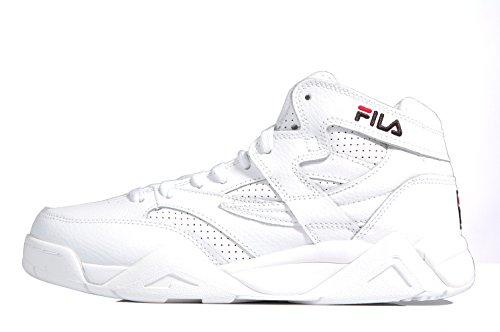 Fila M-Squad mid white leather sneaker Logo - Scarpe sportive retro bianche in pelle