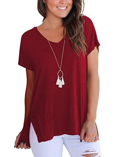Sommer V-Neck T-Shirt Damen Kurzarm Tshirt Casual Loose Baumwoll T Shirt Sport Wein Rot S - Casual V-neck T-shirt