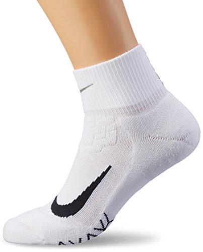 Nike Herren Elite Cushion Quarter Laufsocken, White/Black, 10 (EU 44-45.5) (Socken Quarter Weiß Nike)