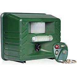 ASPECTEK - Anti-nuisibles à ultrasons radiocommandé avec détecteur de Mouvement, Télécommande 4 Touches Lumière stroboscopique et Ultrasons Anti-prédateurs Prise Britannique