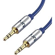 IBRA Cable de Audio Estéreo | 3,5mm Jack macho a 3,5mm macho | 1 Metro | Azul | Para iPhone 6S Plus, 6,5, iPad, Smartphones, Tablets y Reproductores Multimedia