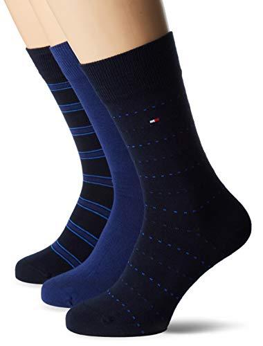 Tommy Hilfiger Herren TH MEN MIXED BOX 3P Socken, Blau (Dark Navy 322), 43/46 (erPack 3 Rib Side Box