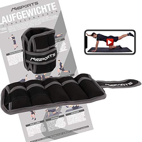 MSPORTS Gewichtsmanschetten -einstellbar- Paar 2 kg Fuß- und Hand-Gewichte inkl. Übungsposter + Work Out App GRATIS (2 KG - 1 Paar)