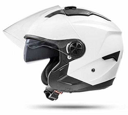 ATO-Helme- Casque Moto Jet La Street Avec Visière + Pare-Soleil - Ventilation 4 Points et Dernière Norme de Sécurité Ece 2205 - Blanc L 59-60Cm