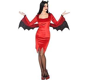Atosa-55443 Atosa-55443-Disfraz Demonia para Mujer Adulto-Talla, Color rojo XS-S (55443