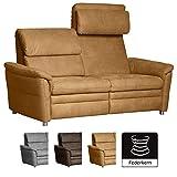 Cavadore 3-Sitzer Sofa Chalsay inkl. verstellbarem Kopfteil / mit Federkern / moderne 3er Couch / Größe: 179 x 94 x 92 cm (BxHxT) / Farbe: Hellbraun (mustard)