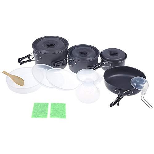 Nuove pentole da giardinaggio per la casa Set da cucina all\'aperto Kit vaschetta da campeggio Utensili da cucina per 4-5 persone Escursionismo Picnic antiscivolo in alluminio anodizzato portatile