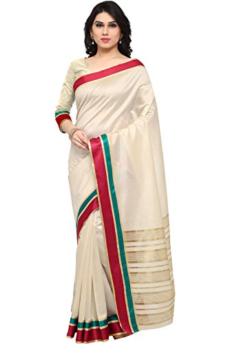 EthnicJunction Women's Traditional Art Silk Saree in South Indian Style With Blouse (White_EJ1162-101)  available at amazon for Rs.249