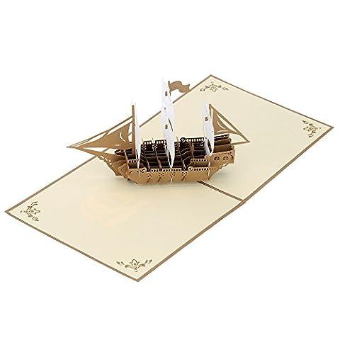 Anself Carte d'Anniversaire Carte de Voeux de Noël Faite à Main 3D Pop Up Kirigami Creux Pliable Carte Postale de Vœux d'Anniversaire de Noël avec Enveloppe Vintage Conception de Bateau à Voile