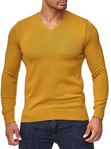 BARBONS Herren Pullover mit V-Ausschnitt - Slim-Fit - Hochwertige Baumwollmischung - Feinstrick-Pullover - Gelb 2XL -