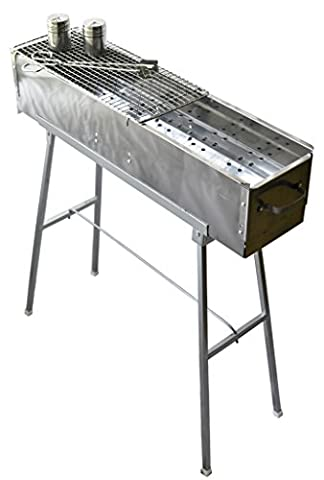 Party Griller Yakitori Grill 80 x 20 cm w/ Double Mesh BBQ Grill Grate - Portable Stainless Steel Charcoal Barbecue Grill. Great Satay, Japanese Hibachi. Makes Juicy Lamb Shish Kebab, Shashlik, Spiedini on the