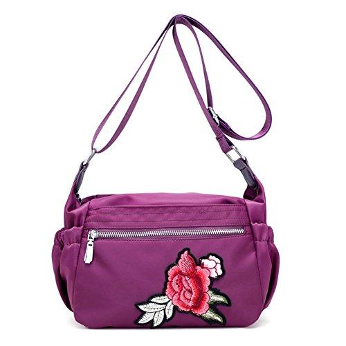 Ladies singola borsa a tracolla,messenger bag-nero porpora