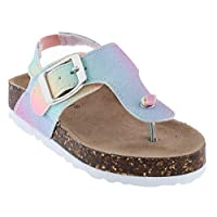 Capelli New York Toddler Girls T-Strap with Bow Flip Flop Purple Size: M Toddler