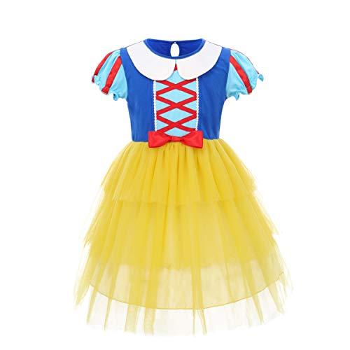 OwlFay Schneewittchen Kostüm für Mädchen Kinder Prinzessin Kleid Märchen Cosplay Fasching Karneval Kostüm Weihnachten Halloween Geburtstag Party Kleid Kleidung Set Geschenk Kleid #A 8-9 Jahre