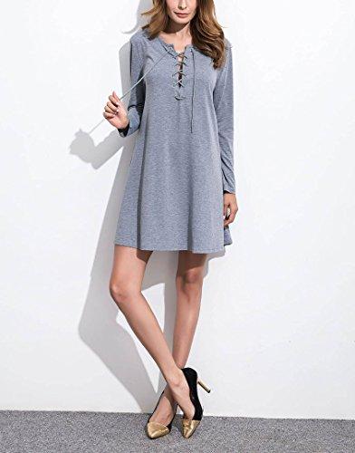 Damen Elegante Strickkleider Jerseykleider A-Linie Cocktailkleid Pullikleid Strickkleid V-Ausschnitt Kleid Kreuzgurte Frauen (EU38-L, Grau) Grau