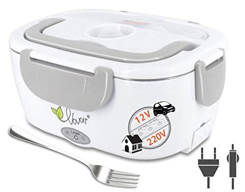VOVOIR Boîte Chauffante Lunch Box Électrique Boîte à Lunch Thermique 12V/220V 2 in 1 40W Boîte Alimentaires Boîte Repas revêtement en Isolation en Acier Inoxydable Boîtes-Repas (Gris)