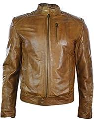 Veste homme en cuir marron clair coupe ceintrée courte avec zip style biker rétro décontracté