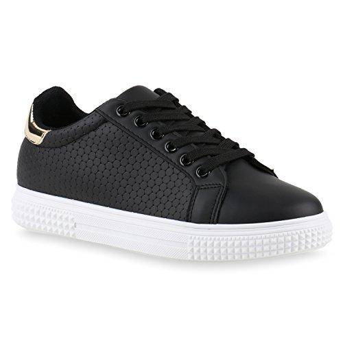 Damen Sneakers Basic Sportschuhe Schnürer Lederoptik Schuhe Schwarz Kreismuster