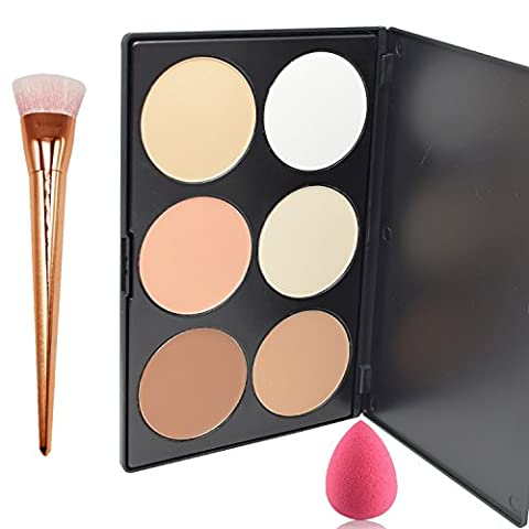 Lover Bar 6 Farbe Contour Palette+Make Up Pinsel+Beauty Blender Schwamm-Professionell Gesicht Gepressten Puder Foundation Bronzer Highlighter Kit-Schminke Pro Concealer Bürste Sleek Kontur Paletten (Sponge)