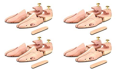 4 Paar Schuhspanner aus Zedernholz ( für Herren und Damen ) inkl. Reiseschuhlöffel aus Zedernholz, Langer & Messmer, Größe 34 bis 50, das Original!, Braun, 38/39