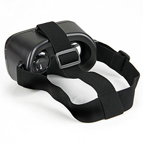 Global Technology Universal 3D-Brille VR Box Virtual Reality für Apple iPhone 5 SE 6 6S Plus 7 | HTC, Huawei, Microsoft, Nokia, Samsung Galaxy S4 S5 S6 S7 Edge | Sony Cardboard Virtuelle Realität Headset Gaming Video Schwarz