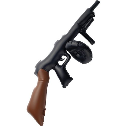 3x Kids Schwarz Aufblasbare Tommy Gun, 75cm Fancy Dress Prop ()
