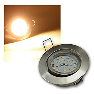 ChiliTec LED Einbauleuchte Deckenspot Einbauspot 5Watt nur 26mm tief schwenkbar 230V (5W warmweiss/Edelstahl)