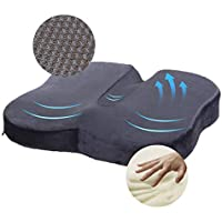 Travel Ease Memory Foam Coccyx Orthopedic Seat Cushion, Seat Cushion for Lower Back Pain and Sciatica Tailbone Pain Relief – Fit for Office Chair, Car Seat, Wheelchair (Black)