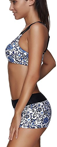 Leslady Separable Badeanzüge Tankini mit 3-Teilig Sporty Neckholder Bikini Set Blue Flower