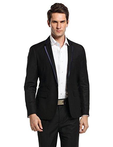 Herren Anzug Sakko Blazer Slim Fit Schwarz Grau für Business Hochzeit Party Schwarz