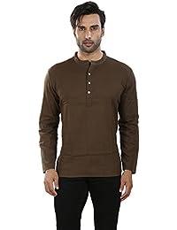 Vivids India Men's Dark Brown Short Kurta - G162