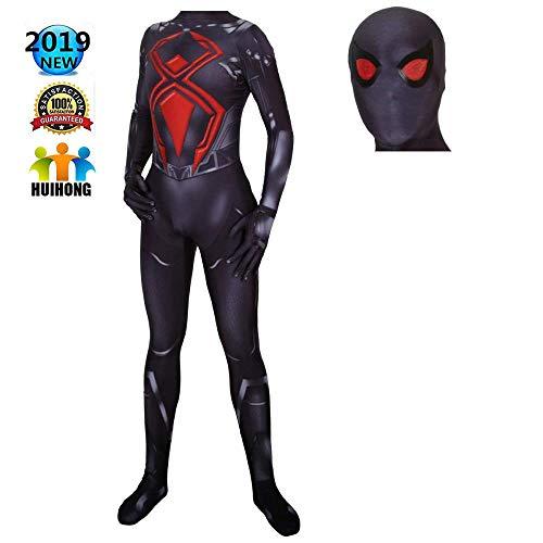 Spandex Schwarzes Kostüm - HUIHONG PS4 Spiderman Cosplay Kostüm Schwarz Kampfanzug Kostüm Rolle Spielen Kleidung Body Spandex Overalls,Spiderman-XXL