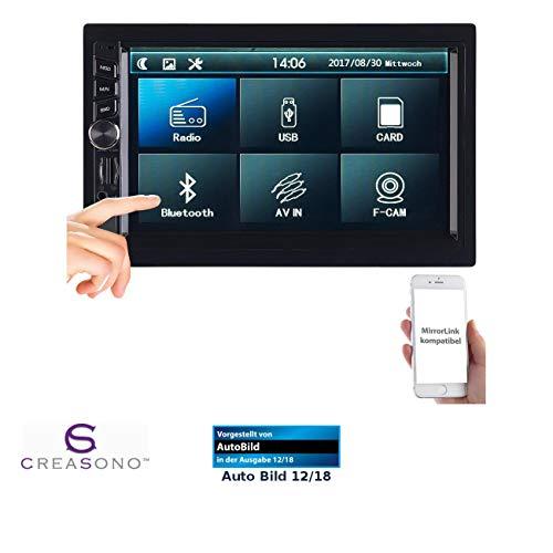 CREASONO Autoradio DIN2: 2-DIN-MP3-Autoradio mit Touchdisplay, Bluetooth, Freisprecher, 4X 45 W (Radio Doppel DIN)