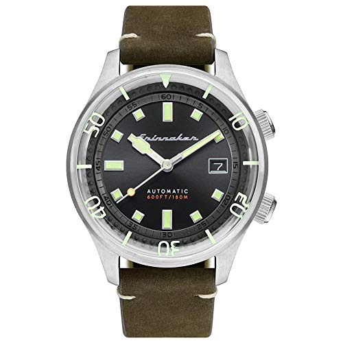 SPINNAKER Men's Bradner 42mm Black Leather Band Steel Case Sapphire Crystal Automatic Watch SP-5062-02
