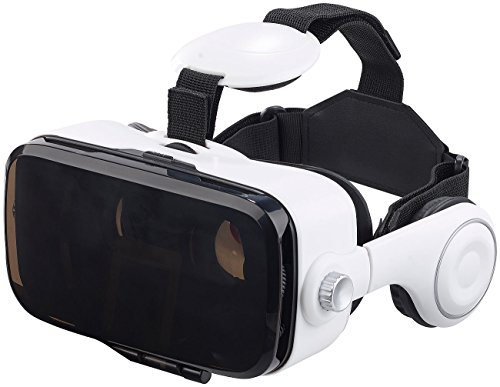 auvisio 3D Brille: Virtual-Reality-Brille mit Headset & Game-Controller im Set, Bluetooth (Handybrille)