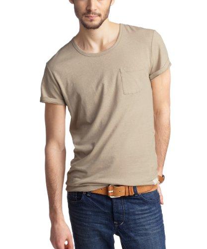 ESPRIT Herren T-Shirt Slim Fit 043EE2K024 Beige - Beige