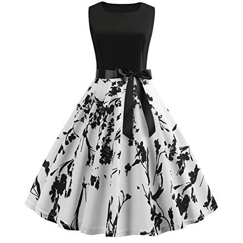 Kleid, Frauen Vintage 50er Jahre Retro ärmellose O Neck Print Abend Party Prom Swing-Kleid Ladies Elegant Ballkleider ()