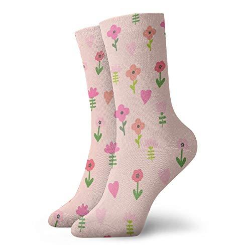 Chicken Floral 2 Cute Farm Florals Wildflowers Classics Compression Socks Sport Athletic 11.8inch(30CM) Long Crew Socks for Men Women -